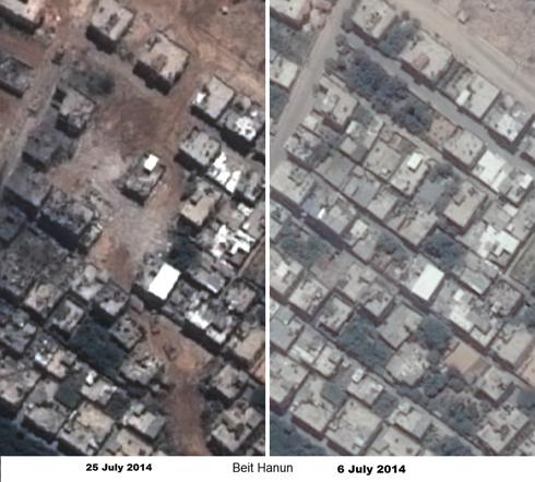 בית חנון בתחילת החודש ובמהלך המבצע (צילום לווין: פליאדס, רונן סלומון) (צילום לווין: פליאדס, רונן סלומון)