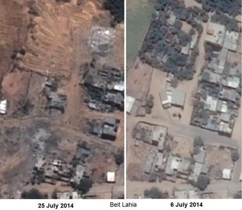 בית להיא בתחילת החודש ובמהלך המבצע (צילום לווין: פליאדס, רונן סלומון) (צילום לווין: פליאדס, רונן סלומון)
