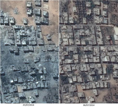 שכונת סג'עייה. תמונה שפורסמה לפני כמה ימים (צילום לווין: פליאדס, רונן סלומון) (צילום לווין: פליאדס, רונן סלומון)