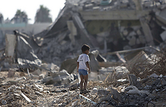 Ruined homes in Saja'yya (Photo: AFP)