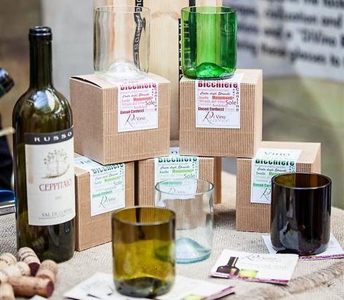 האיטלקים אוהבים יין, אז הם יצרו כוסות ממוחזרות מבקבוקי יין ישנים (צילום: JA-YE Europe) (צילום: JA-YE Europe)