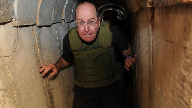 Ya'alon in a Hamas tunnel in October 2013. 'There is no sign that Hamas is leading to an escalation,' he said a few weeks before the operation (Photo: Alon Bason, Defense Ministry)