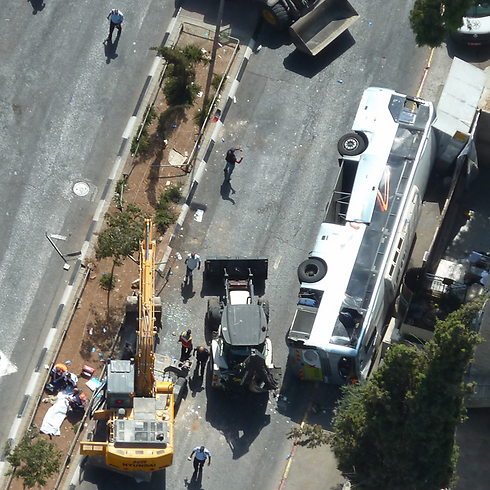 Aerial image of the scene of the August 4 attack in Jerusalem (Photo: Israel Police) (Photo: Israel Police)