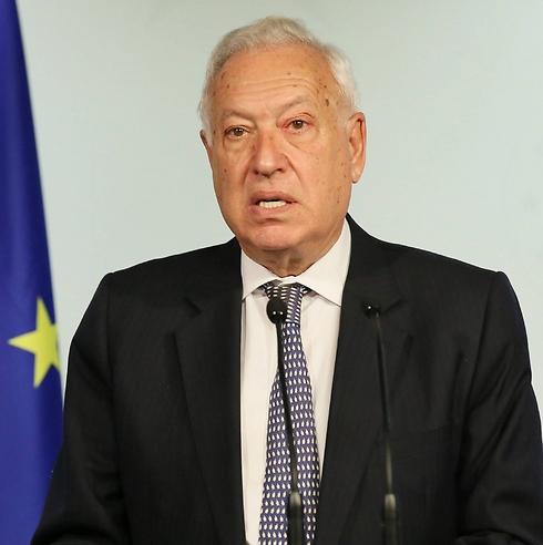 מחה על הרג אזרחים בעזה. שר החוץ הספרדי (צילום: EPA) (צילום: EPA)
