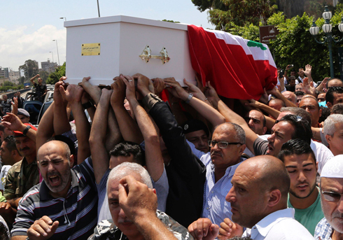 The funeral of a Lebanese Army officer killed recently in a jihadist raid across the border with Syria. (Photo: Reuters) (Photo: Reuters)