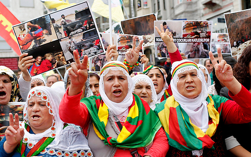 הפגנת כורדים באיסטנבול (צילום: EPA) (צילום: EPA)