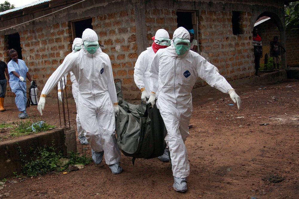 תקווה לחיסון לאבולה בזכות ניסוי בקופים. מפנים גופה בליבריה (צילום: EPA) (צילום: EPA)