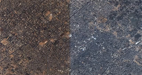 Before and after photo of Gaza