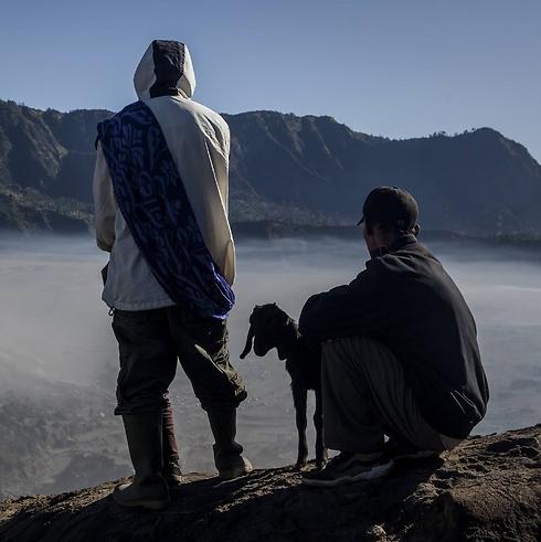 עז ובעליה בראש ההר (צילום: Getty Images  )