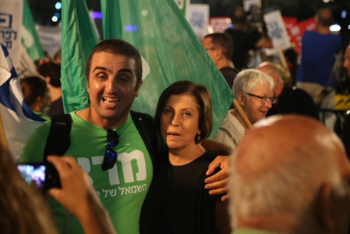 Meretz Chairwoman Zahava Gal-On at Rabin Square rally (Photo: Motti Kimchi)