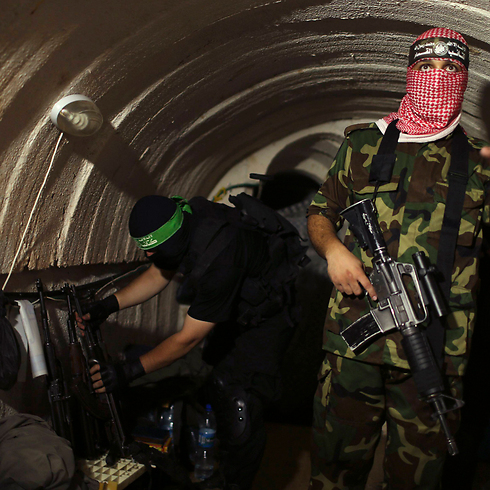 Hamas terrorists in one of the tunnels (Photo: Reuters) (Photo: Reuters)