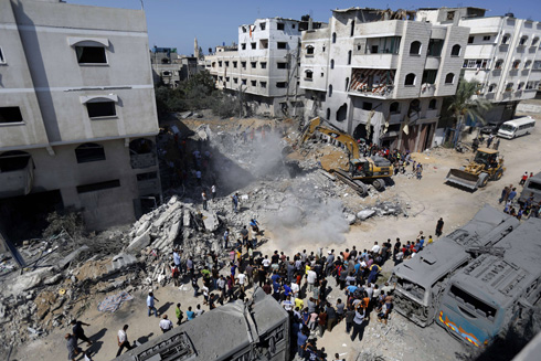 The wreckage of the house Mohammed Deif was believed to have been (Photo: AFP) (Photo: AFP)