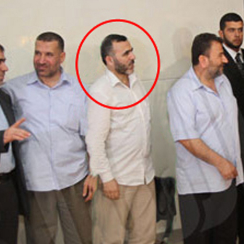 Sinwar was accompanied by Izz ad-Din al-Qassam Brigades deputy commander Issa (circled)
