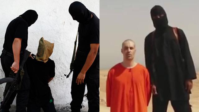מימין: ג'יימס פולי לפני הוצאתו להורג. משמאל: ההוצאה להורג היום בעזה (צילום: AP, רויטרס) (צילום: AP, רויטרס)