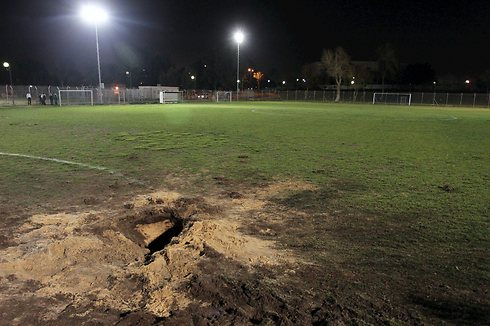 Damage to sports field (Photo: Avi Rokach)