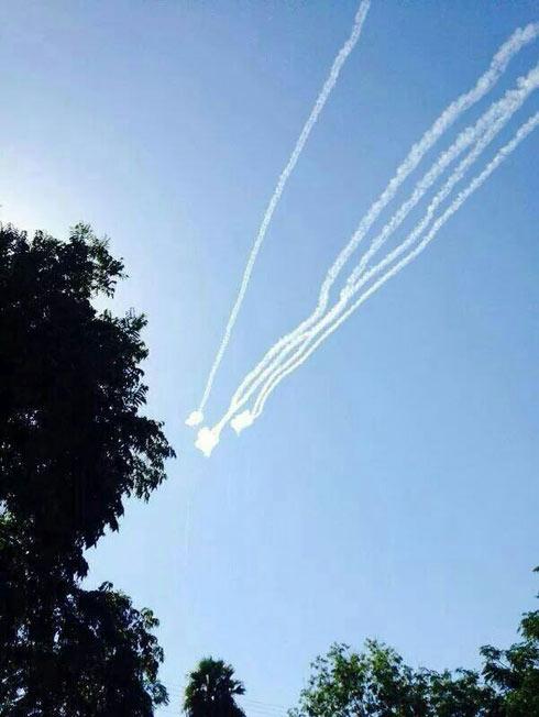 Rockets over Sderot. (Photo: Albert Gabay)
