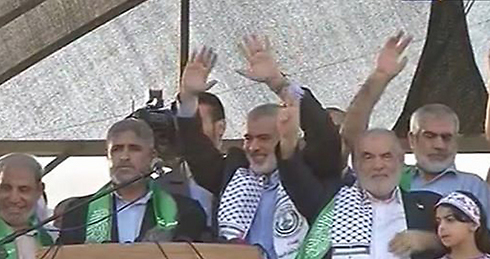 Hamas officials at Gaza rally