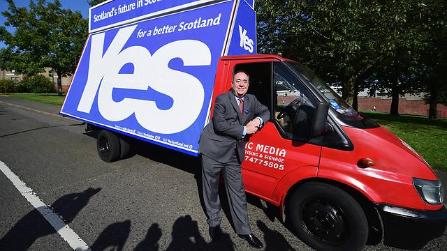 """צובר תאוצה. מנהיג מחנה """"כן"""" לעצמאות, ראש ממשלת סקוטלנד סלמונד (צילום: gettyimages)"""