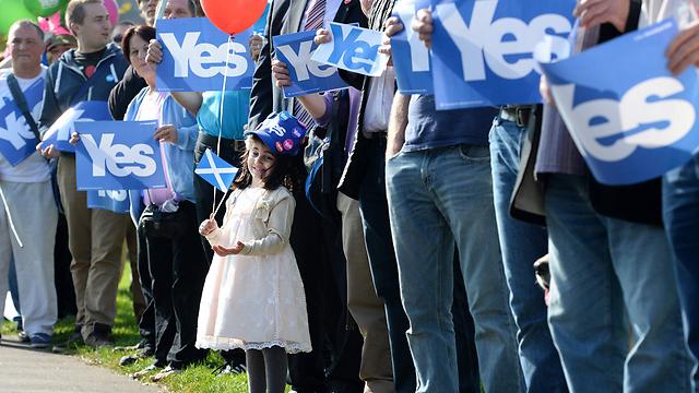 מחנה התומכים בעצמאות סקוטלנד, ערב משאל העם (צילום: EPA)