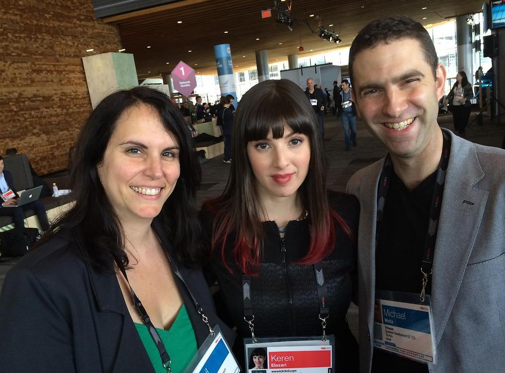 """וויטס, קרן אלעזרי, מרצה בכירה בTEDMED  וטננבאום. """"צריך להתאמן לפני שמדברים"""" (צילום: טדמד)"""