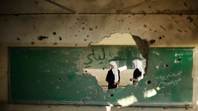 Gaza school damaged by IDF strikes (Photo: Reuters)