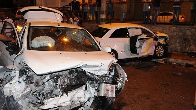 אזור התאונה בריינה, הלילה (צילום: אנור אמארה) (צילום: אנור אמארה)