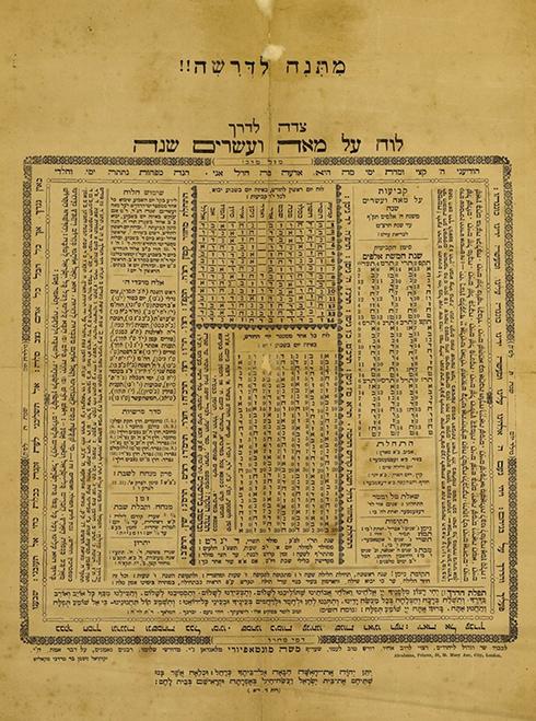 לוח שנה ל-120 שנה - מ-1820 עד 1939. הדפסה מחודשת מ-1850  ()