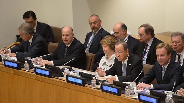 """הוועידה באו""""ם.צחי הנגבי הציג את החשש של ישראל (צילום: שחר עזרן) (צילום: שחר עזרן)"""