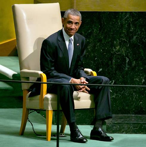 Obama moments before his speech at the General Assembly. (Photo: AP) (Photo: AP)