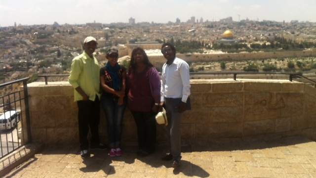 The Ethiopian doctoral students - Workey Tigabie, Naomi Teshome, and Hailemaryam Alemu - visit Jerusalem.