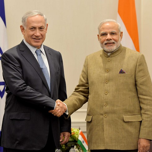 Modi with PM Netanyahu (Photo: Avi Ohayon, GPO)