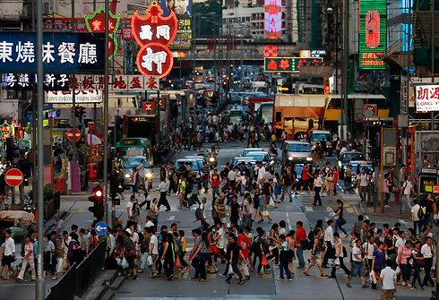 תנועה ערה ברחובות הונג קונג (צילום: AP) (צילום: AP)