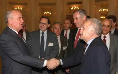 Shamir and Netanyahu at the Madrid Conference of 1991 (Photo: GPO) (Photo: GPO)