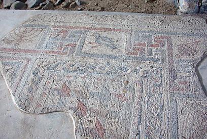 פסיפס מעוטר במוטיבים יהודיים מובהקים (צילום: יעל אלף, רשות העתיקות  )