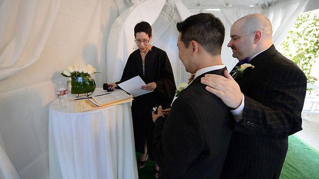 נישואים חד-מיניים במערב הוליווד, קליפורניה (צילום: AFP ) (צילום: AFP )