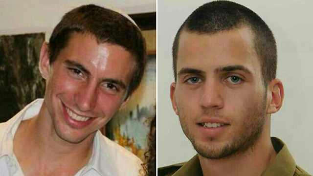 Lieutenant Hadar Goldin (left) and Staff Sgt. Oron Shaul (right).