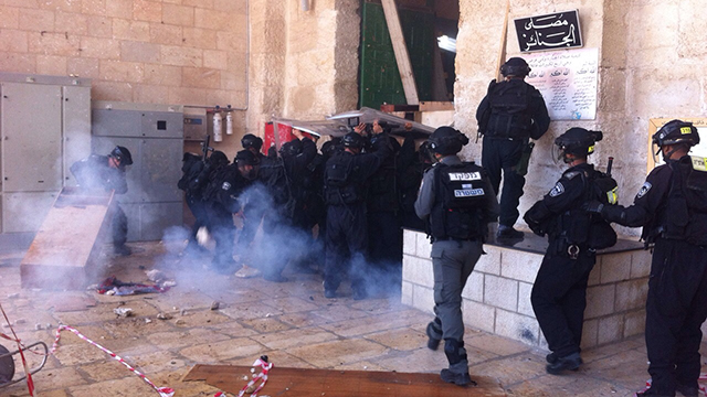 Police forces at Temple Mount (Photo: Jerusalem Police)