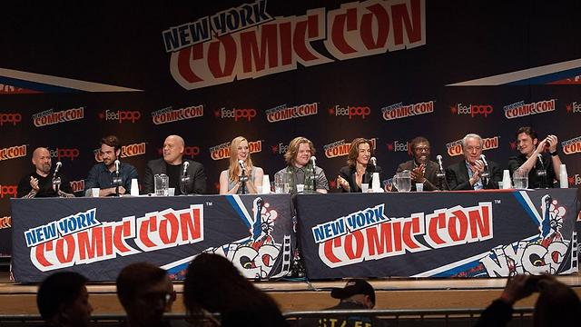 The 'Daredevil' panel at Comic Con, including Zurer, fourth from the right (Photo: AFP)