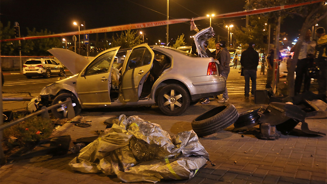The scene of Wednesday's terror attack in Jerusalem (Photo: Gil Yohanan)  (Photo: Gil Yohanan)