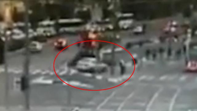 Car hits station
