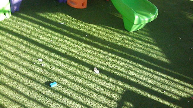 Stones at the kindergarten playground.