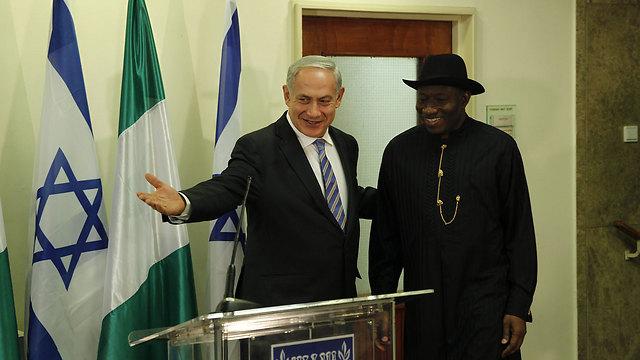 Nigerian President Goodluck Jonathan and Prime Minister Benjamin Netanyahu in 2013. (Photo: Atta Awisat)