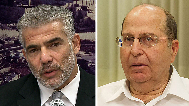 Finance Minister Yair Lapid / Defense Minister Moshe Ya'alon (Photo: Eli Mendelbaum / Ido Erez)