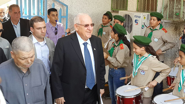 President Rivlin at Kafr Qasim ceremony (Photo: Hassan Shaalan)