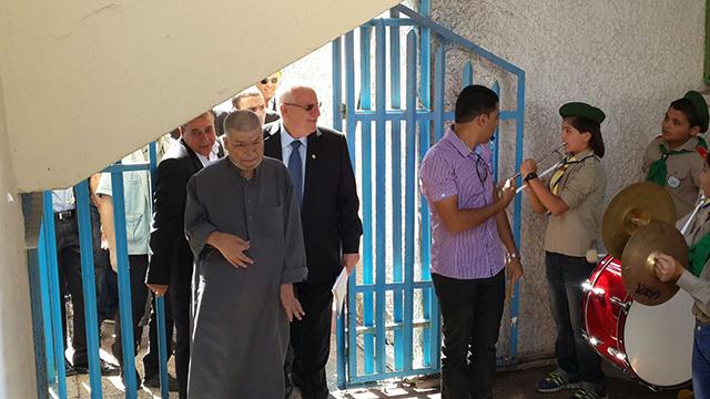 הנשיא ריבלין, היום בכפר קאסם (צילום: חסן שעלאן) (צילום: חסן שעלאן)