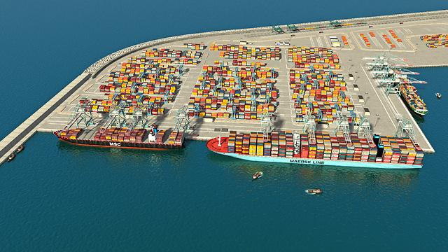 הדמיית הנמל החדש בחיפה. הצלחה (הדמיה: סטודיו HUE 3D עבור חברת נמלי ישראל) (הדמיה: סטודיו HUE 3D עבור חברת נמלי ישראל)