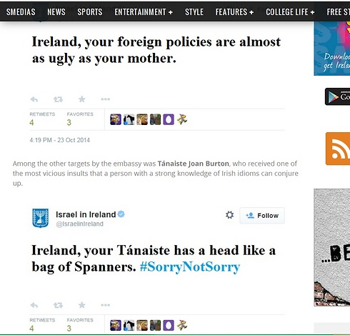 "Fake tweets Israel Embassy tweets created by Irish student website oxygen.ie as ""sattire"" go viral on internet."