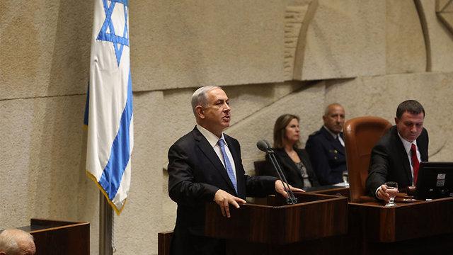 Prime Minister Netanyahu at the Knesset (Photo: Gil Yohanan)