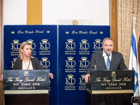 Mogherini with Lieberman, Friday (Photo: Noam Moskovitz) (Photo: Noam Moskowitz)