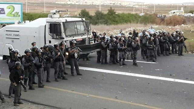 Police were present in heavy numbers in Kafr Kanna on Saturday. (Photo: Hassan Shaalan) (Photo: Hassan Shaalan)